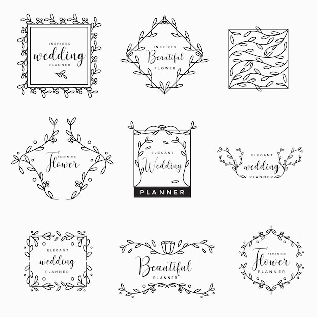 Coleção de logotipo de casamento floral feminino Vetor Premium