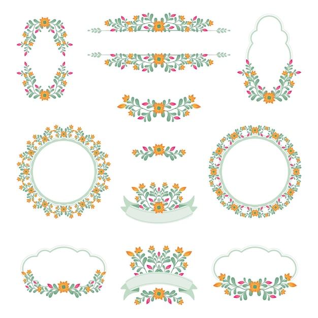 Coleção de logotipo de casamento floral fofo Vetor Premium