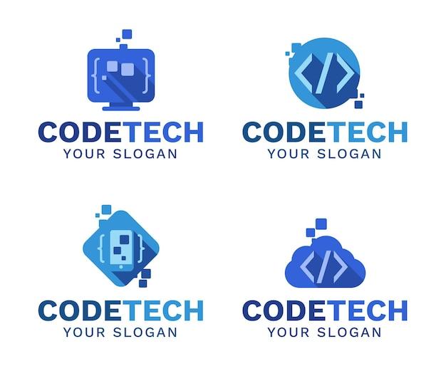 Coleção de logotipo de código simples Vetor grátis