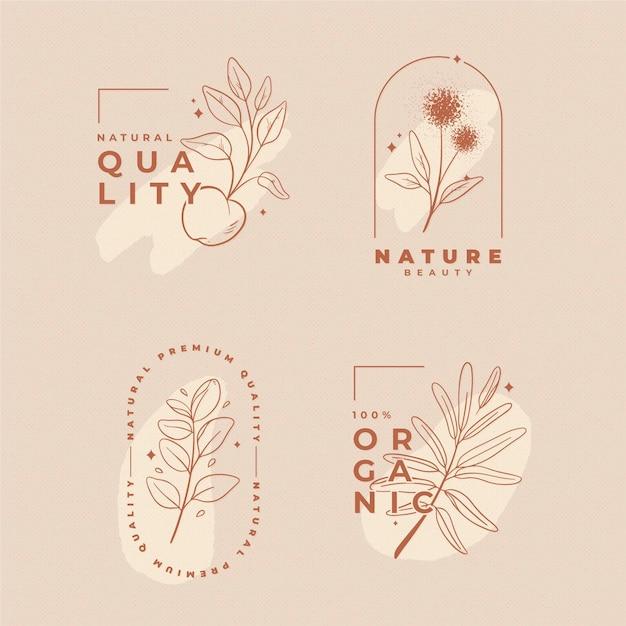 Coleção de logotipo de cosméticos de natureza Vetor Premium