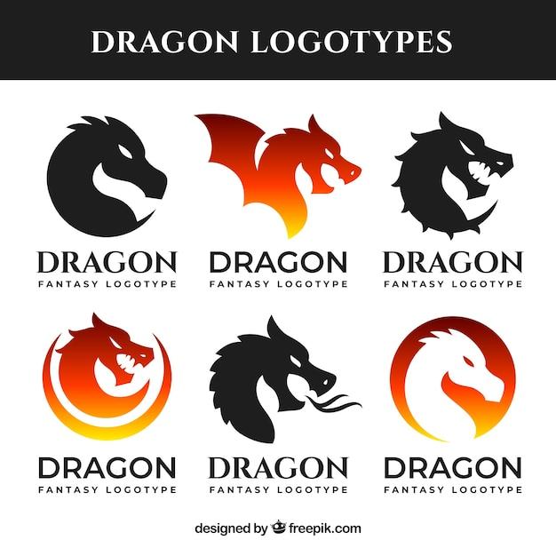 Coleção de logotipo de dragão com design plano Vetor grátis
