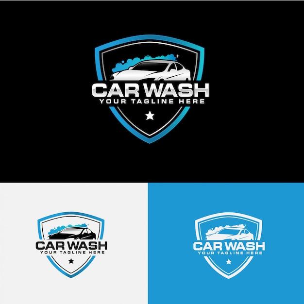 Coleção de logotipo de empresa de lavagem de carro Vetor Premium
