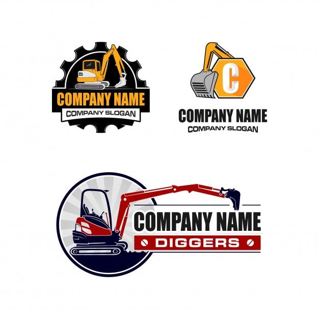 Coleção de logotipo de escavação / escavador Vetor Premium