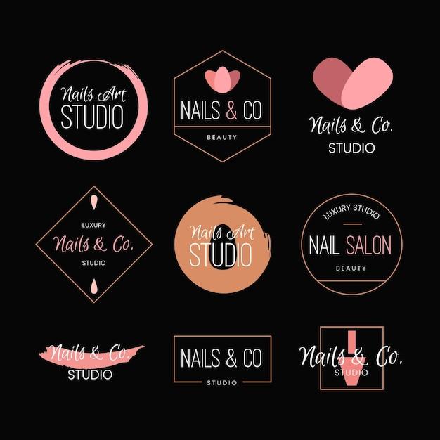 Coleção de logotipo de estúdio de arte de unhas Vetor grátis