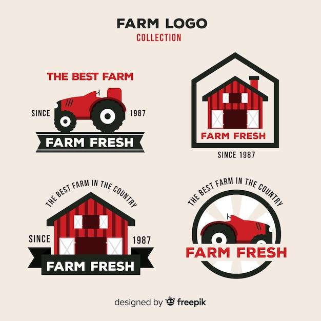 Coleção de logotipo de fazenda plana vermelha Vetor grátis