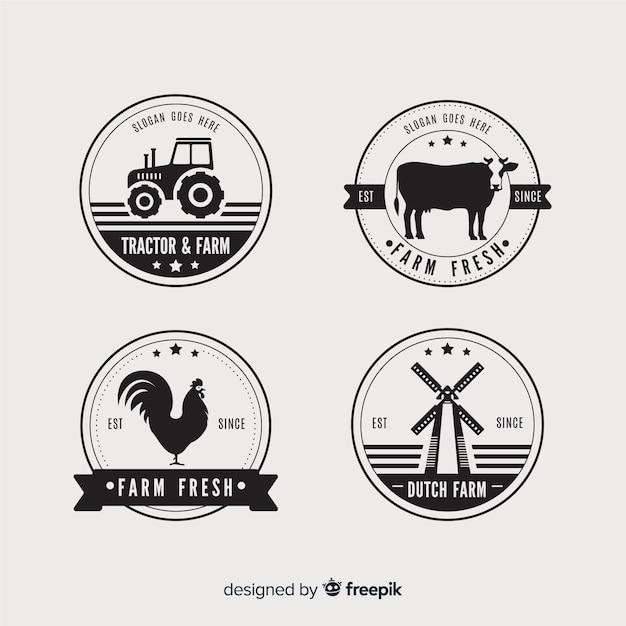 Coleção de logotipo de fazenda plana Vetor Premium