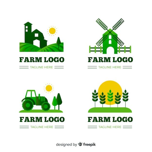 Coleção de logotipo de fazenda plana Vetor grátis
