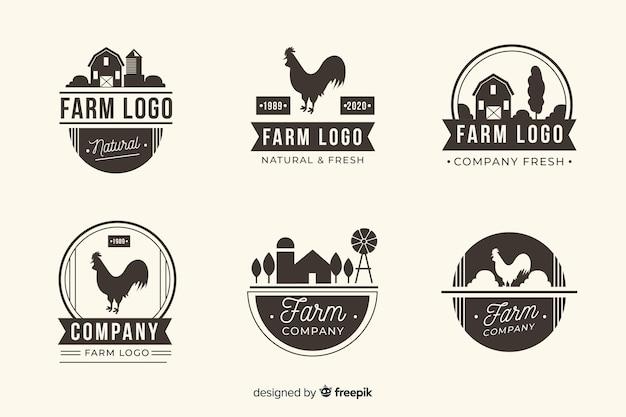 Coleção de logotipo de fazenda preto liso Vetor grátis