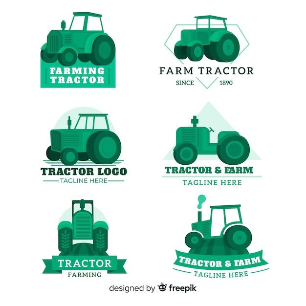Coleção de logotipo de fazenda verde plana Vetor grátis