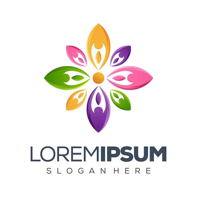 Coleção de logotipo de flor de pessoas Vetor Premium
