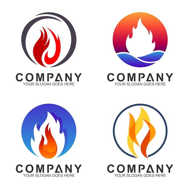 Coleção de logotipo de fogo em forma de círculo Vetor Premium