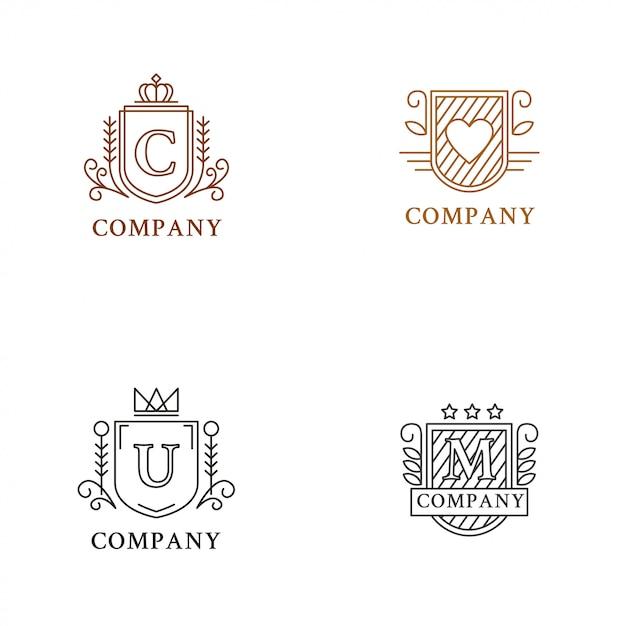 Coleção de logotipo de heráldica Vetor Premium