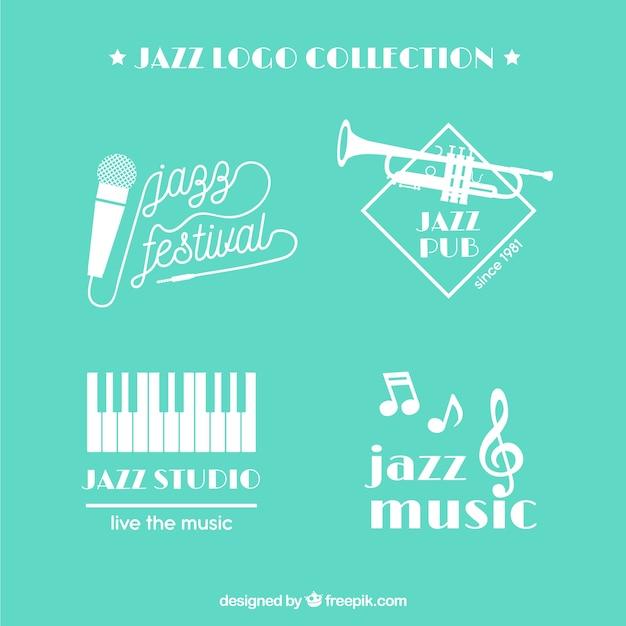 Coleção de logotipo de jazz com design plano Vetor grátis