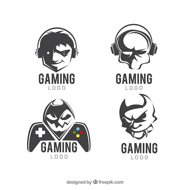 Coleção de logotipo de jogos com design plano Vetor grátis