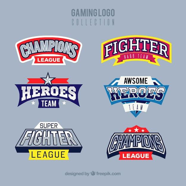 Coleção de logotipo de jogos com estilo de esporte Vetor grátis