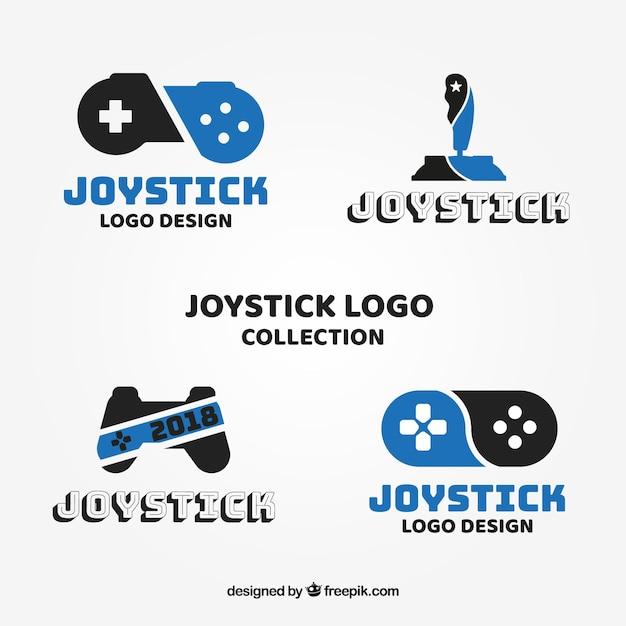 Coleção de logotipo de joystick com design plano Vetor grátis