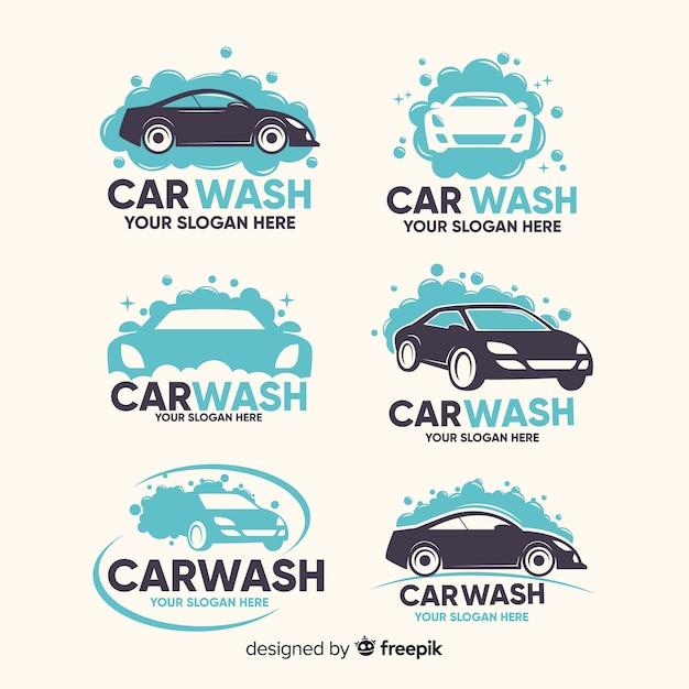 Coleção de logotipo de lavagem de carro liso Vetor grátis