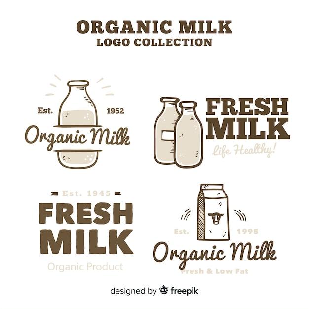 Coleção de logotipo de leite orgânico Vetor grátis