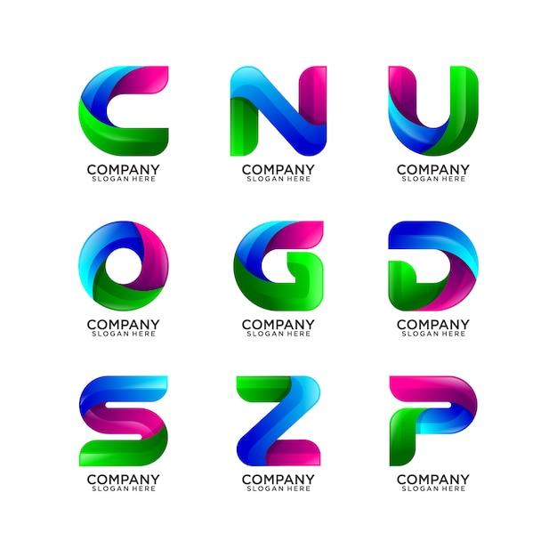 Coleção de logotipo de letra abstrata Vetor Premium