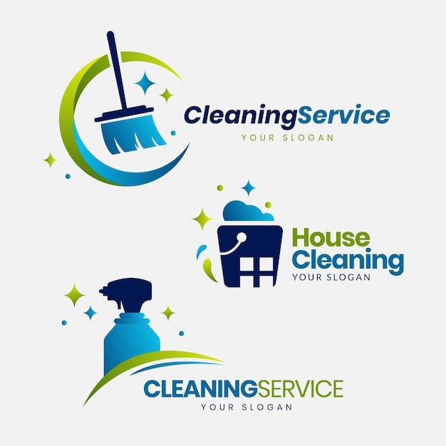 Coleção de logotipo de limpeza Vetor grátis