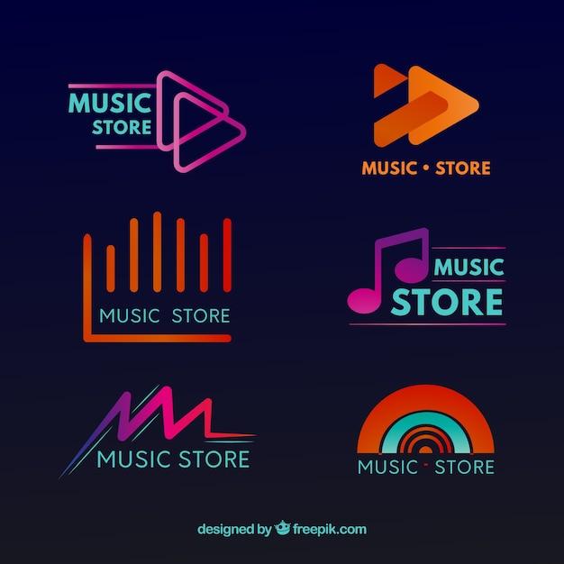 Coleção de logotipo de loja de música com design plano Vetor grátis