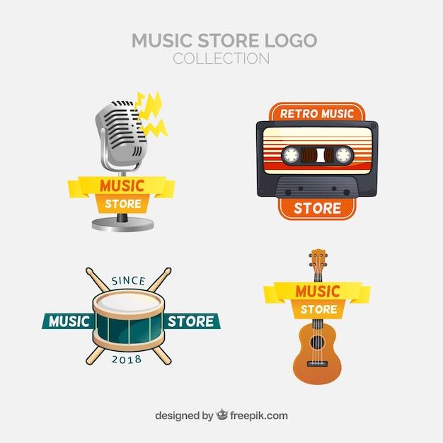 Coleção de logotipo de loja de música com design plano Vetor Premium