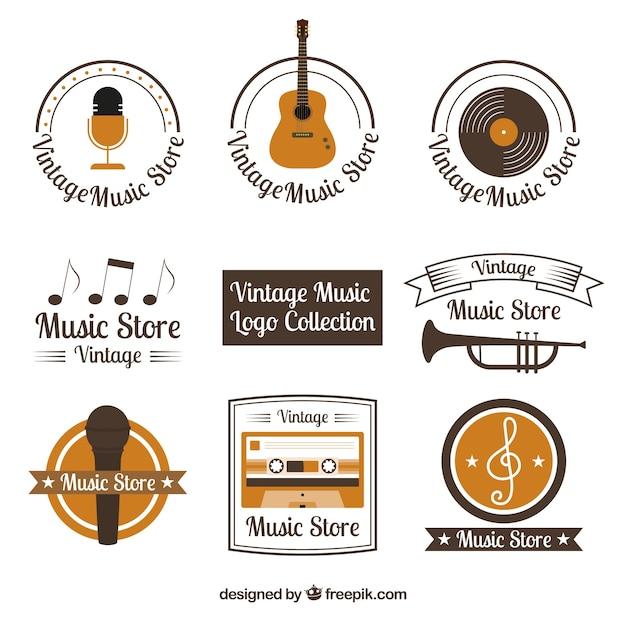 Coleção de logotipo de loja de música com estilo vintage Vetor grátis