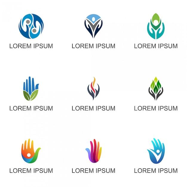 Coleção de logotipo de mãos Vetor Premium