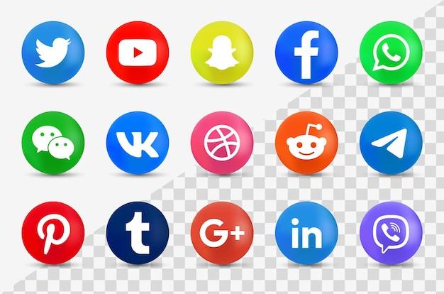 Coleção de logotipo de mídia social 3d - ícones redondos em 3d modernos Vetor Premium