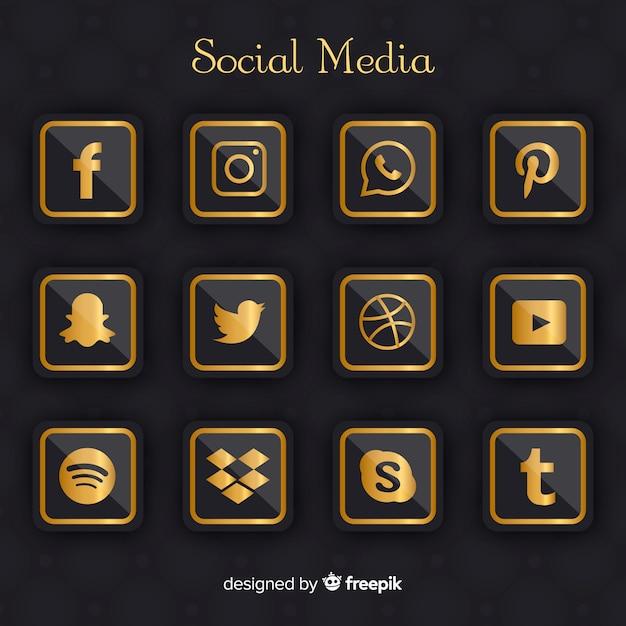 Coleção de logotipo de mídia social de luxo Vetor grátis