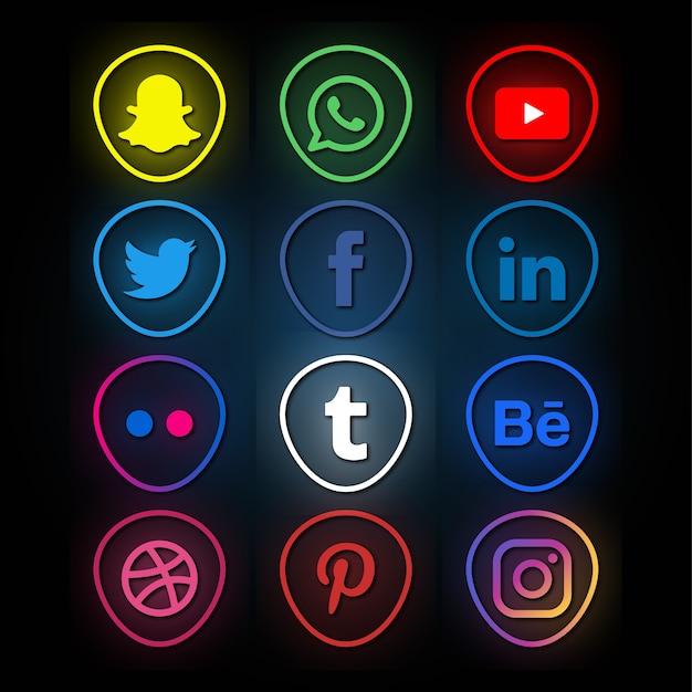 Coleção de logotipo de mídia social estilo neon Vetor Premium