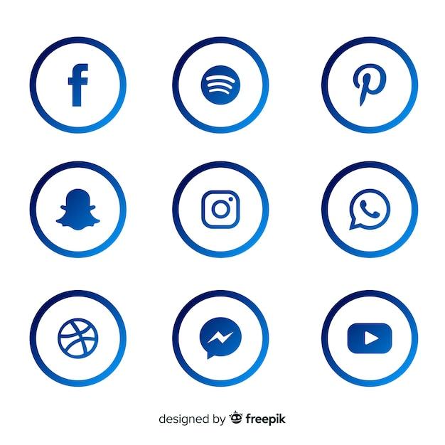 Coleção de logotipo de mídia social gradiente Vetor grátis