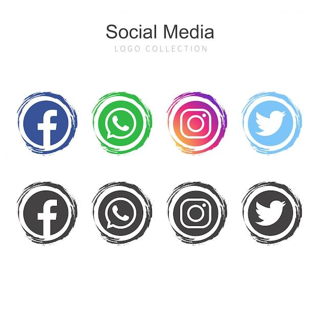 Coleção de logotipo de mídia social popular Vetor grátis