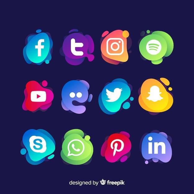 Coleção de logotipo de mídia social Vetor Premium