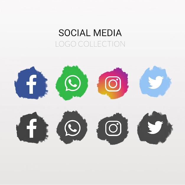 Coleção de logotipo de mídia social Vetor grátis