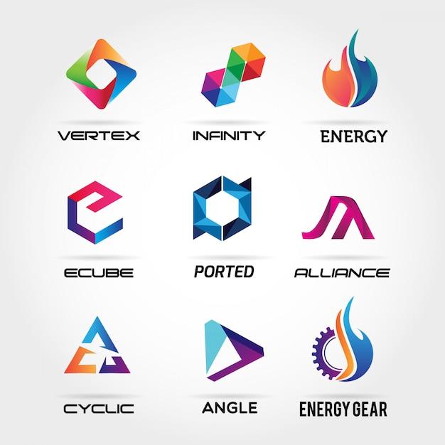 Coleção de logotipo de negócio abstrato Vetor Premium