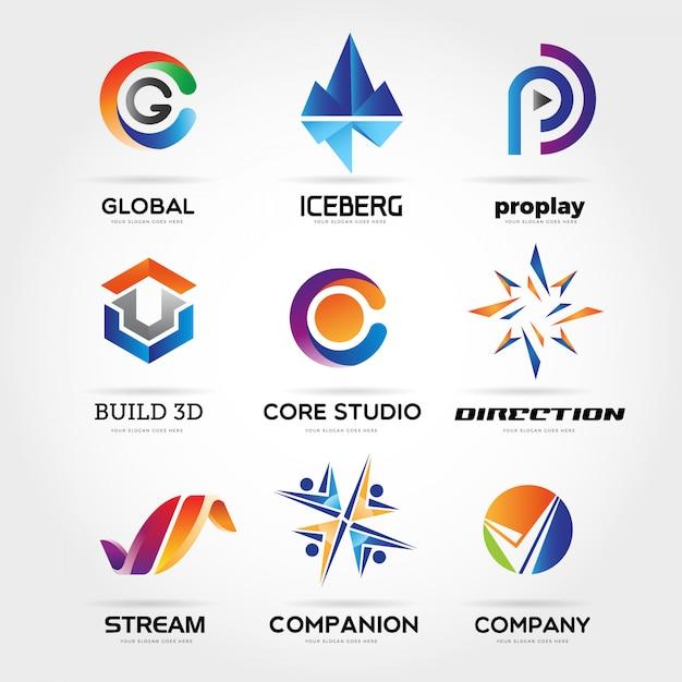 Coleção de logotipo de negócio colorido abstrato Vetor Premium