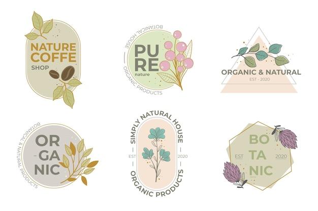 Coleção de logotipo de negócios naturais em estilo minimalista Vetor grátis