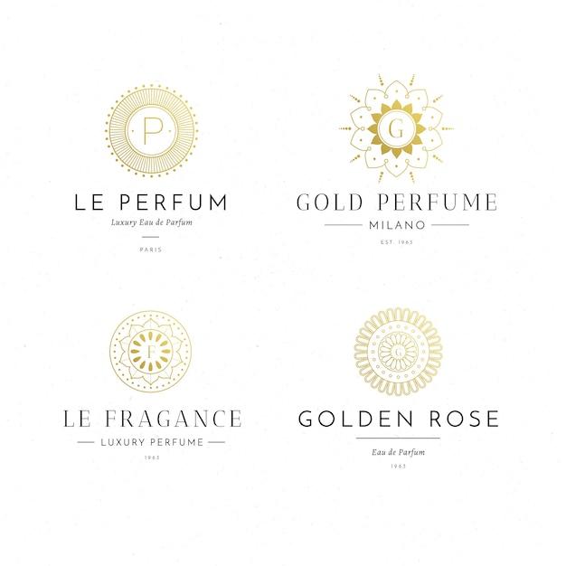 Coleção de logotipo de perfume de luxo Vetor grátis