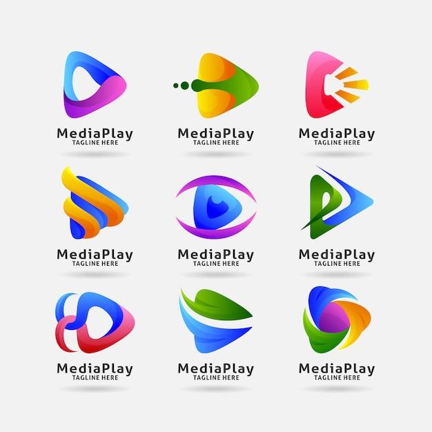 Coleção de logotipo de reprodução de mídia Vetor Premium