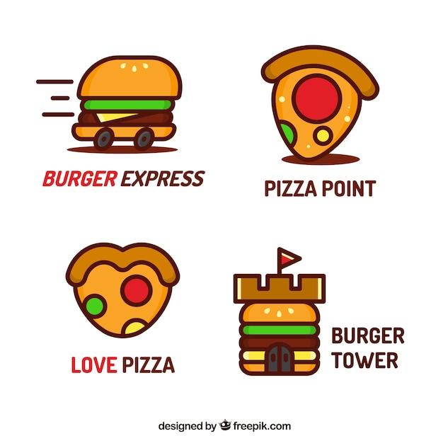 Coleção de logotipo de restaurante fast food Vetor grátis