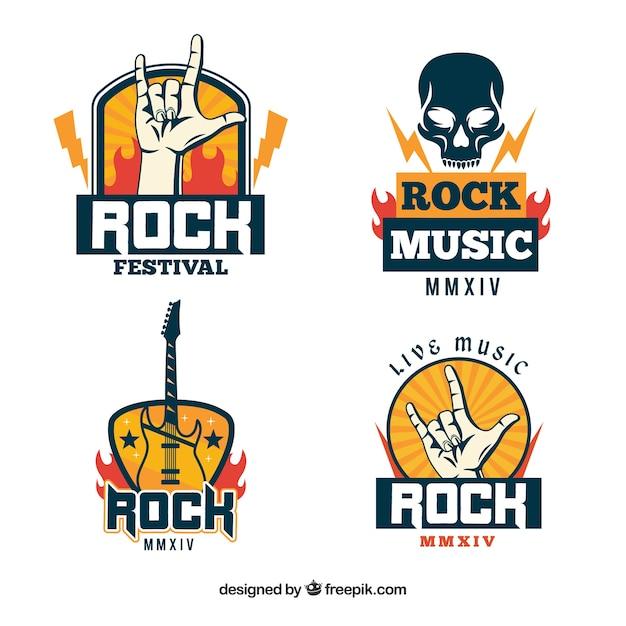 Coleção de logotipo de rock com design plano Vetor grátis