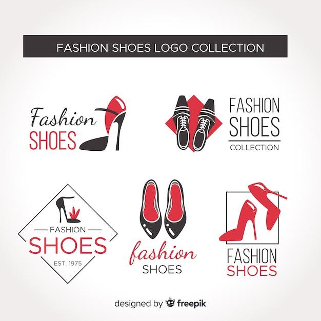Coleção de logotipo de sapato de moda Vetor Premium