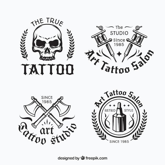 Coleção de logotipo de tatuagem preto e branco Vetor grátis