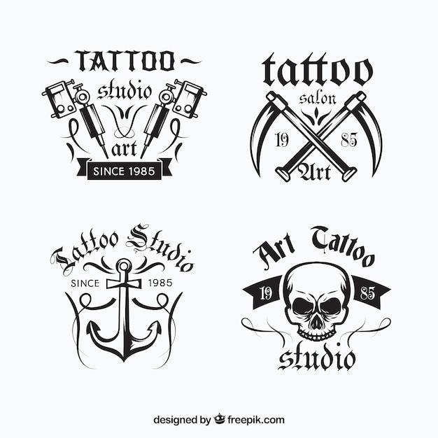 Coleção de logotipo de tatuagem Vetor grátis