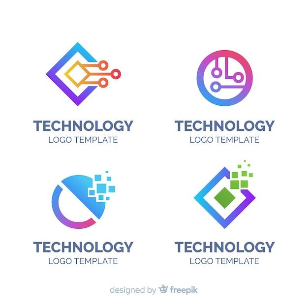 Coleção de logotipo de tecnologia plana Vetor grátis