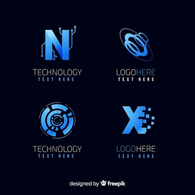 Coleção de logotipo de tecnologia Vetor grátis