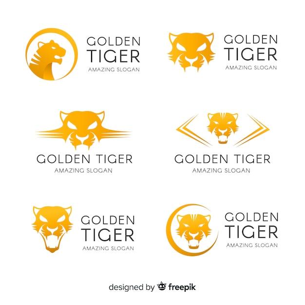 Coleção de logotipo de tigre de ouro Vetor grátis