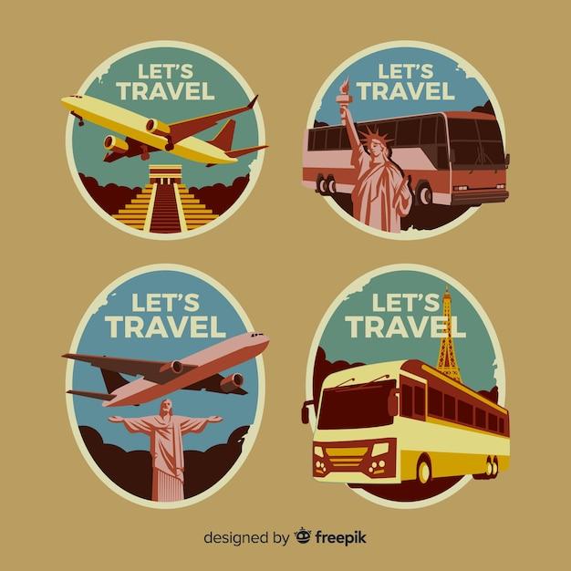 Coleção de logotipo de viagens vintage plana Vetor grátis