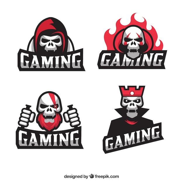 Coleção de logotipo de videogame com design plano Vetor grátis